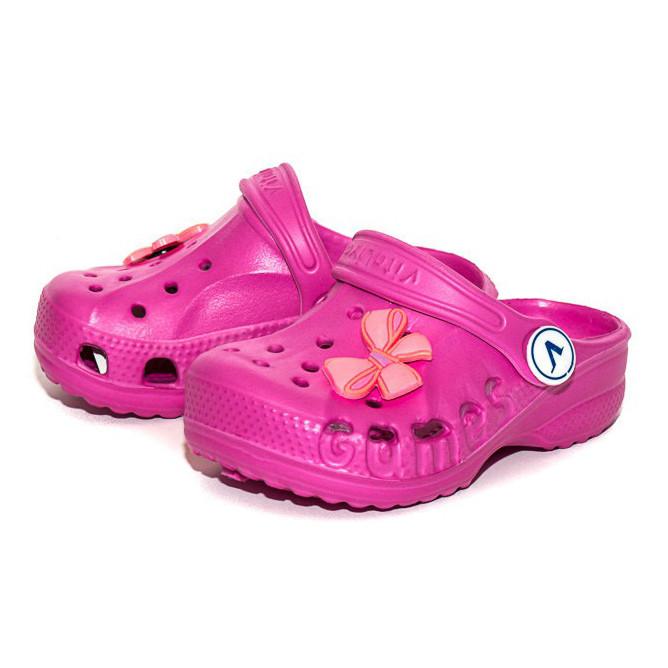 Крокси шльопанці для дівчинки. Босоніжки сандалети пляжні. Гумові тапочки сабо CROCS (малинові) 26-27