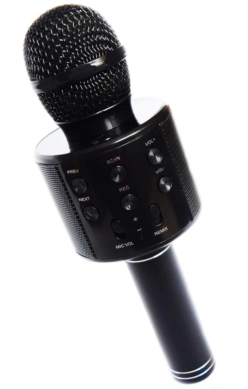 🔝 Микрофон для караоке, WSTER WS858, блютуз микрофон для пения, детский микрофон с динамиком (Черный) | 🎁%🚚