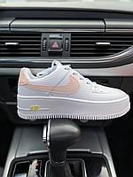 Кроссовки женские Nike Air Force белые, Найк Аир Форс, натуральная кожа, прошиты. Код PL-0308