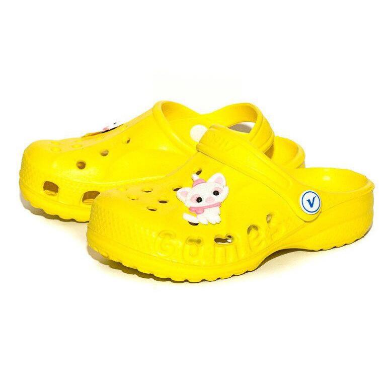 Кроксы шлепанцы для девочки. Босоножки сандалеты пляжные. Резиновые тапочки сабо CROCS  (желтые) 32-33