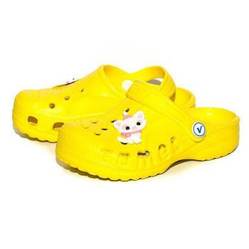 Кроксы шлепанцы для девочки. Босоножки сандалеты пляжные. Резиновые тапочки сабо CROCS  (желтые) 28-29
