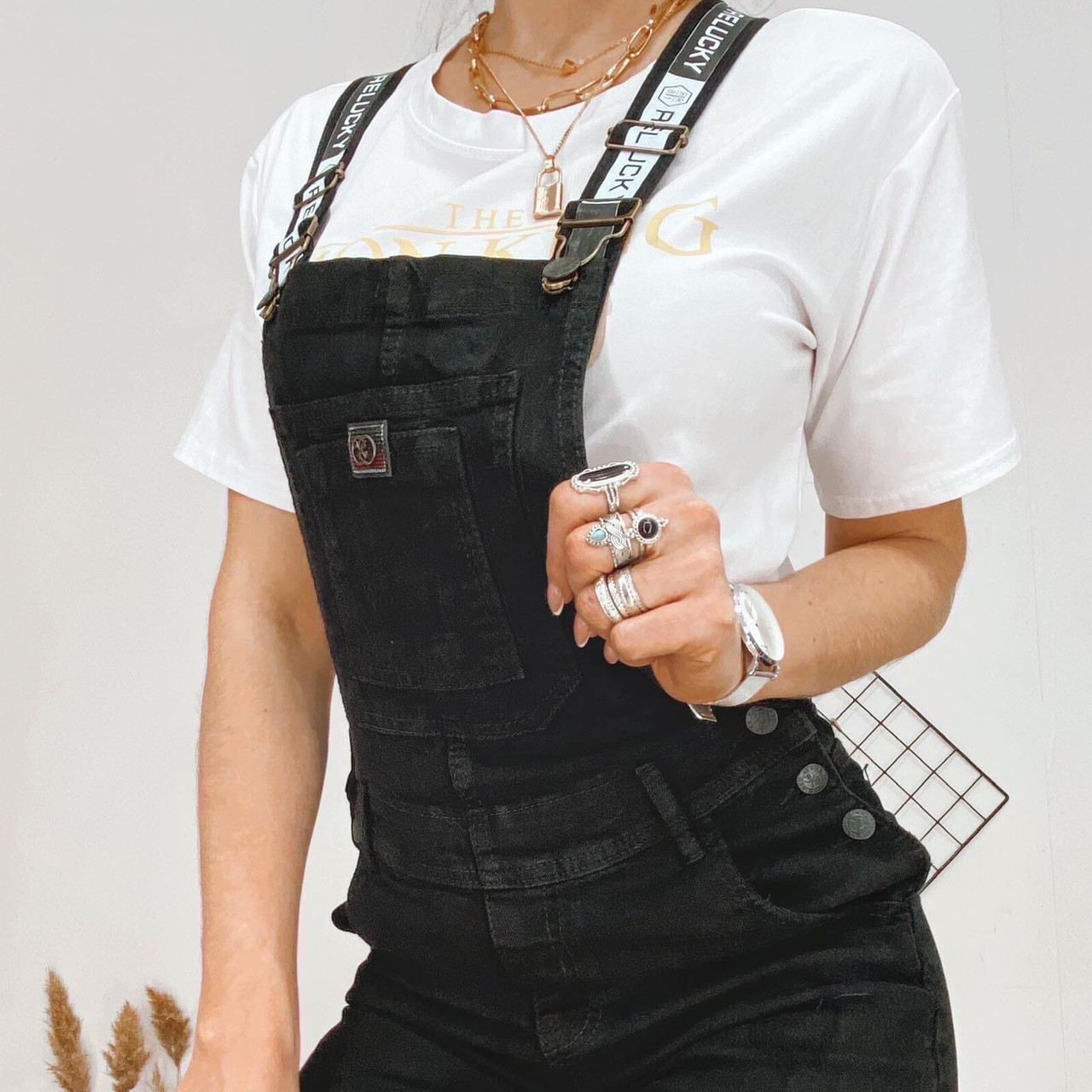 Комбинезон джинсовый женский чёрный