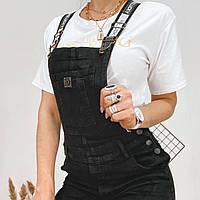 Комбинезон джинсовый женский чёрный, фото 1