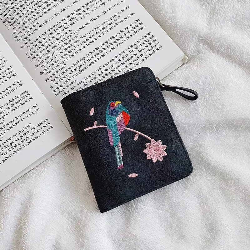 """Модный женский раскладной мини кошелек с вышивкой птицы стильный """"Bird"""" (темно-синий)"""