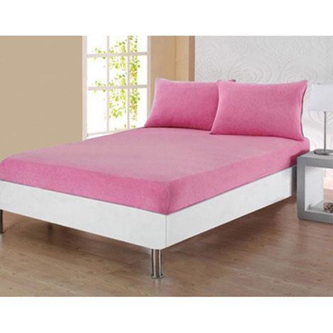 Плотная махровая простынь на резинке 180*200*25 Турция Moz + наволочки Цвет Розовый