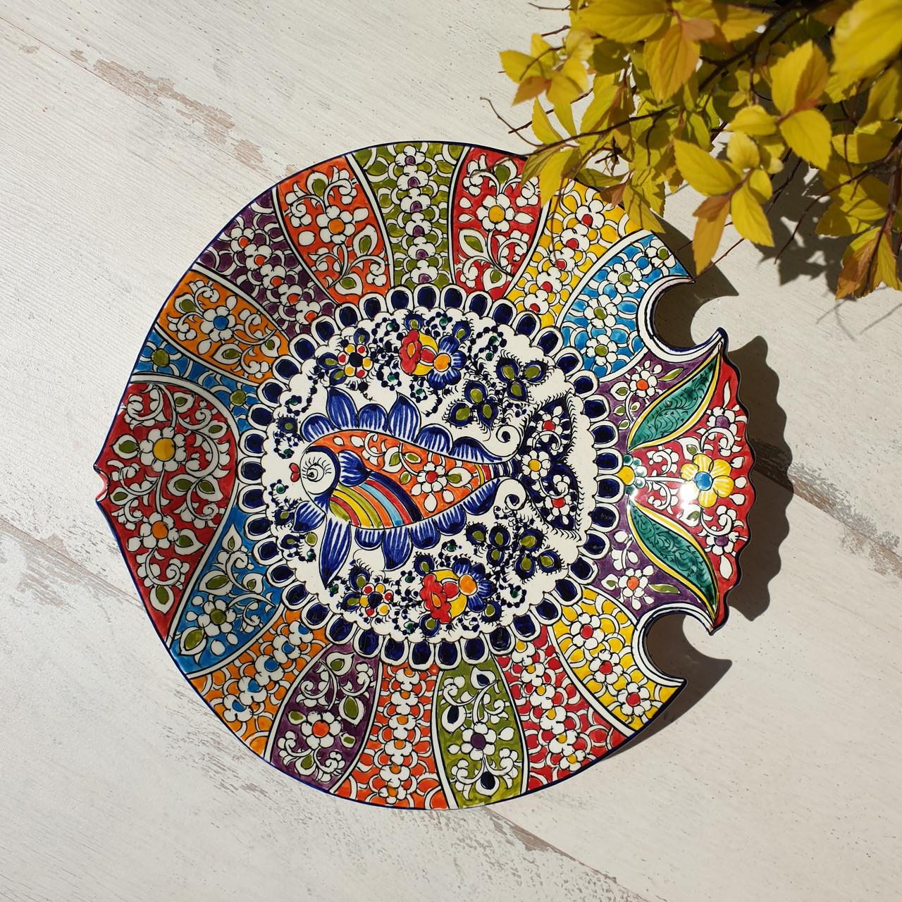 """Тарелка """"Рыбка"""" d 26 см ручной работы. Узбекистан (13)"""
