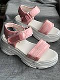 Спортивные розовые сандалии, босоножки на платформе, фото 2