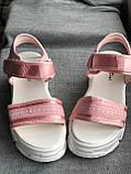 Спортивные розовые сандалии, босоножки на платформе, фото 3