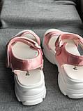Спортивные розовые сандалии, босоножки на платформе, фото 4