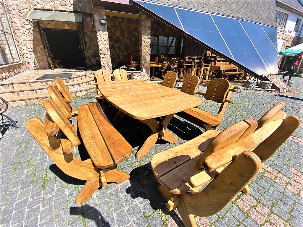 🌿 Мебель из массива дуба 1750х1100, комплект Oak Furniture 01. Стол и 4 лавки из дуба от производителя