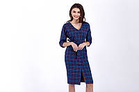 Платье летнее для девушки, сарафан синий в клетку, женская одежда новинка 2020