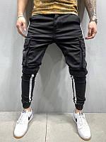 Мужские карго джинсы с манжетами (черные) - Турция 5297