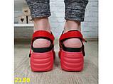 Босоножки красные на высокой платформе буффало с ремешками 36 р. (2186), фото 4