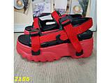 Босоножки красные на высокой платформе буффало с ремешками 36 р. (2186), фото 3