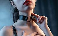 Женский кожаный широкий чокер черный