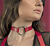 Женский кожаный чокер с кольцом красный - Фото