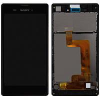 Дисплейный модуль (дисплей + сенсор) для Sony Xperia T3 D5102 D5103 D5106, с рамкой, черный оригинал