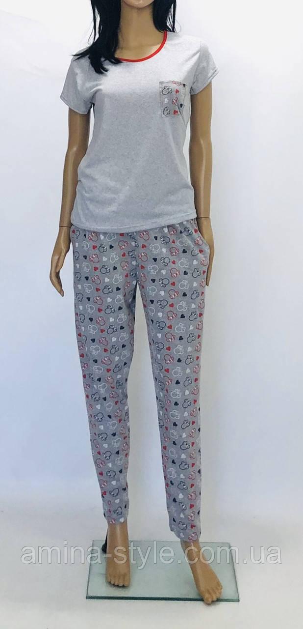 Комплект домашний - футболка с брюками хлопок, размер  46(M)