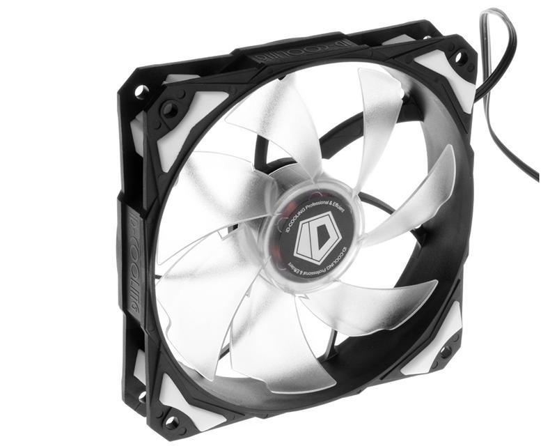 Вентилятор ID-Cooling PL-12025-W, 120x120x25мм, 4-pin PWM, черный с белым