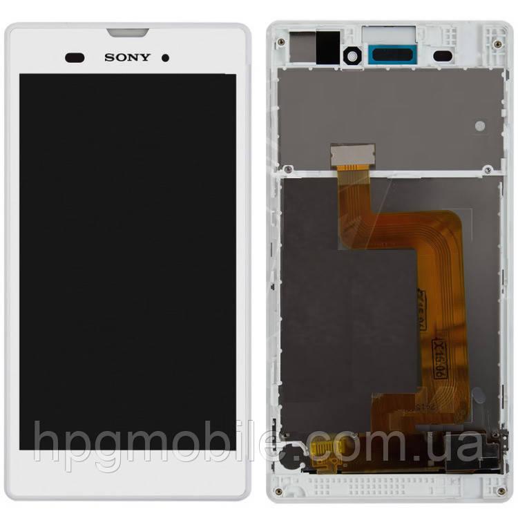 Дисплей для Sony Xperia T3 D5102, D5103, D5106, модуль в сборе (экран и сенсор), с рамкой, белый, оригинал