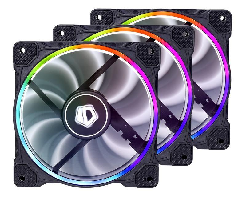Вентилятор ID-Cooling ZF-12025-RGB Trio (3pcs Pack), 120x120x25мм, 4-pin PWM, черный