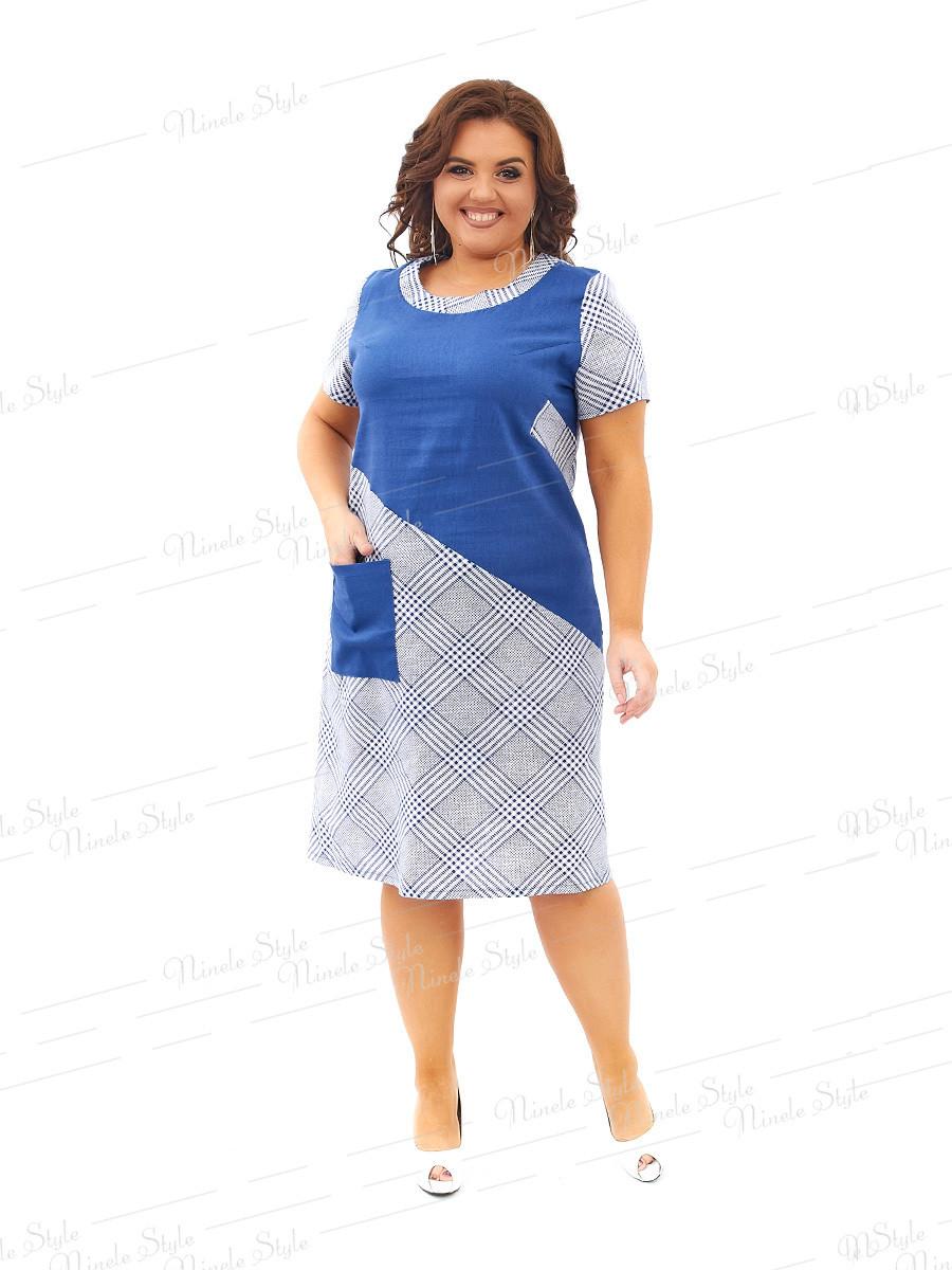 Повседневное льняное платье в клетку 435 54