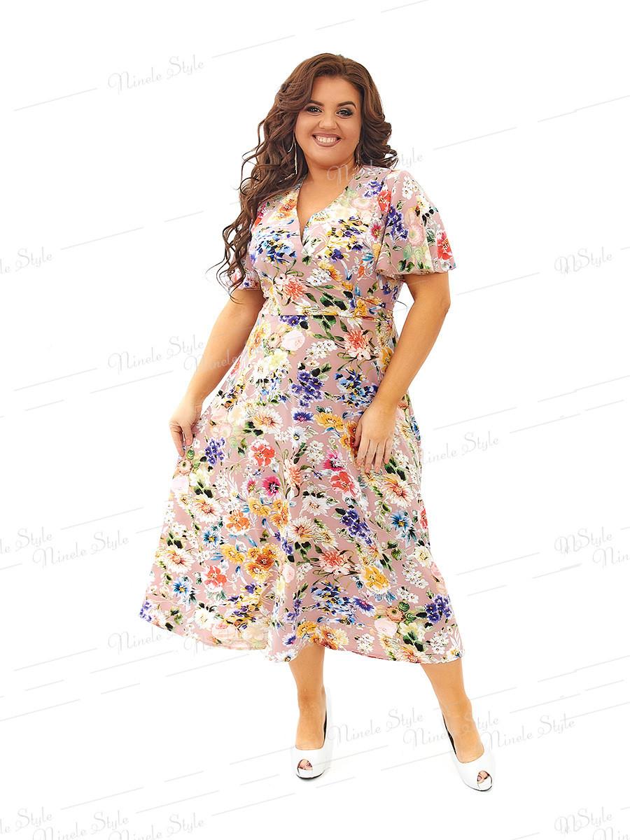 Нарядное шелковое платье с цветочным  принтом 434-1 54