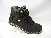 Кожаные мужские зимние ботинки с молнией чёрно-коричневые, Columbia model № 333