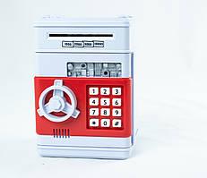 """Электронная копилка """"Сейф банкомат"""" с кодовым замком и купюроприемником красный"""
