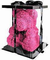 Мишка из 3D роз Zupo Crafts 25 см Розовый + подарочная упаковка