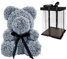 Мишка из 3D роз Zupo Crafts 25 см Серый + подарочная упаковка