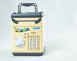 Детский сейф-копилка saving box money safe с кодовым замком желтый