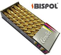 Свечи праздничные BISPOL (10шт) золотые фигурные, фото 1