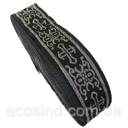 Тесьма церковная (галун) 3 см. черная с серебром (653-Т-0702)
