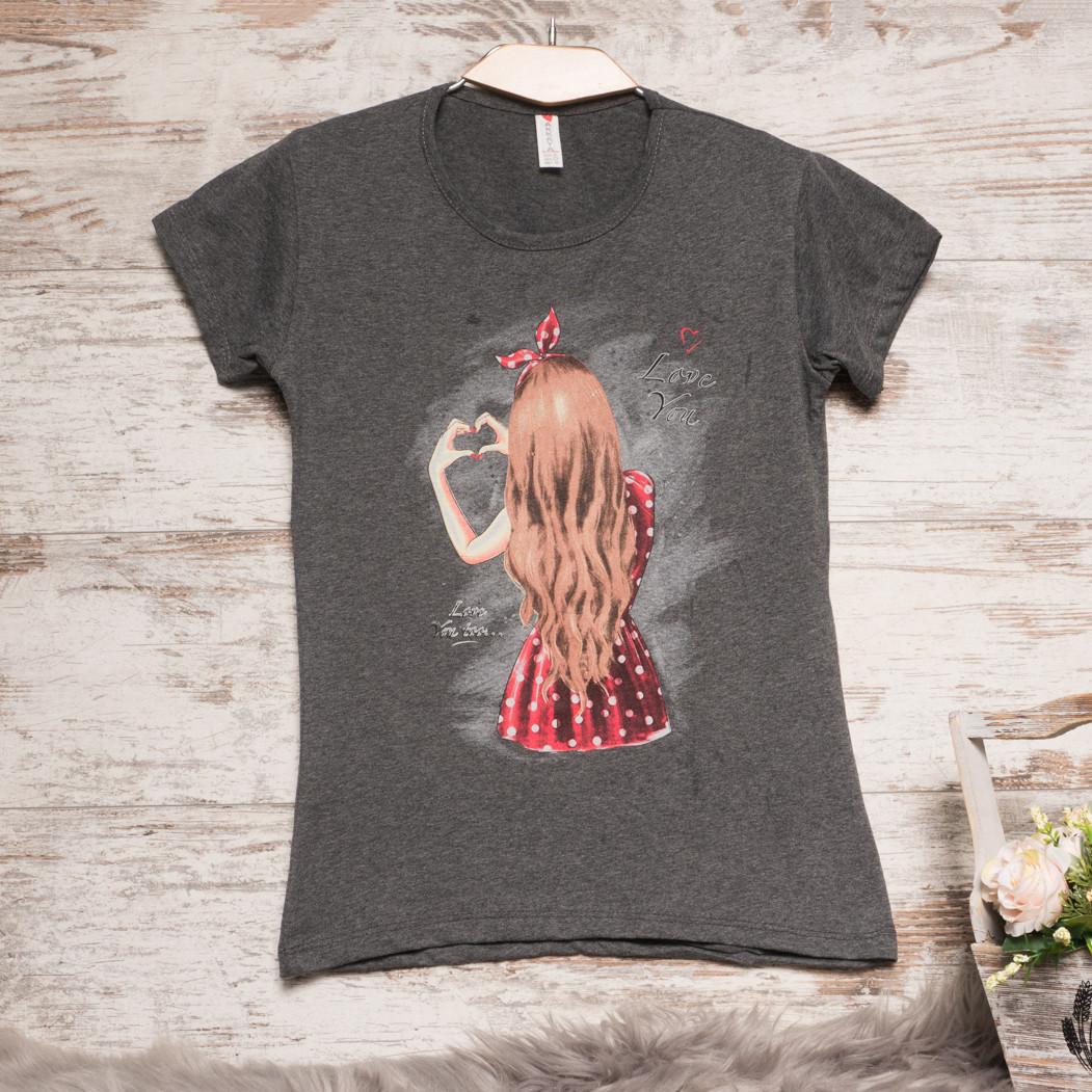 3206-1 темно-серая Akkaya футболка с принтом стрейчевая (S-XL, 4 ед.)