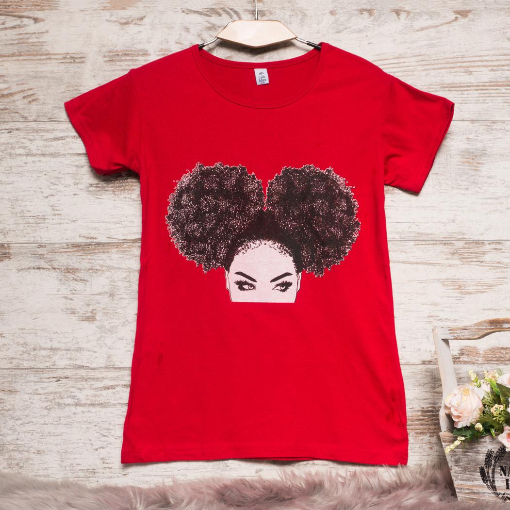 3207-1 красная Carla Mara футболка женская с принтом стрейчевая (S-XL, 6 ед.)