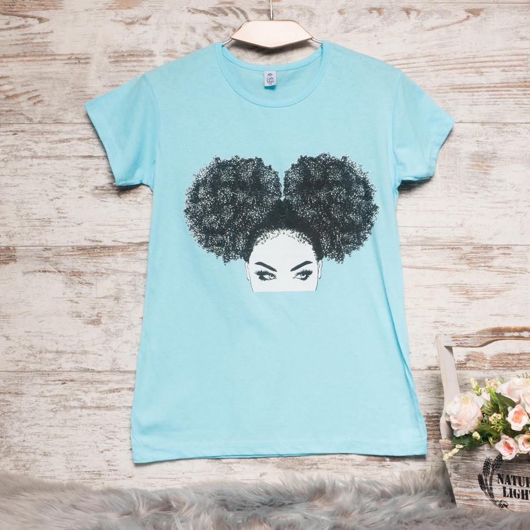 3207-2 голубая Carla Mara футболка женская с принтом стрейчевая (S-XL, 6 ед.)