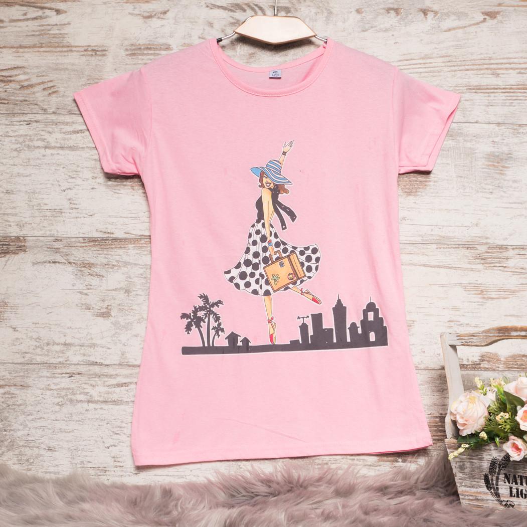 3211-5 розовая Carla Mara футболка женская с принтом стрейчевая (S-XL, 6 ед.)