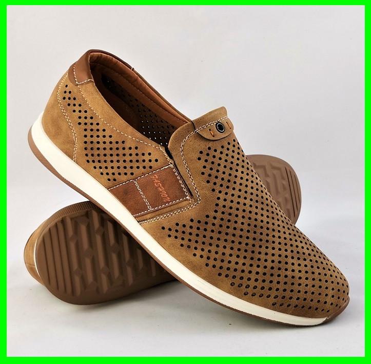Мужские Мокасины Летние Сеточка Коричневые Туфли (размеры: 40)