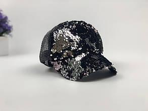 Кепка бейсболка с пайетками (черно-серебрянная)