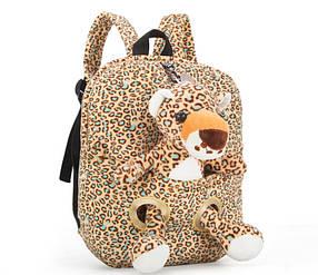 Оригінальний тканинний рюкзак з м'якою іграшкою в кишені Ягуар
