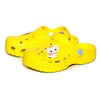 Кроксы шлепанцы для девочки. Босоножки сандалеты пляжные. Резиновые тапочки сабо CROCS  (желтые)