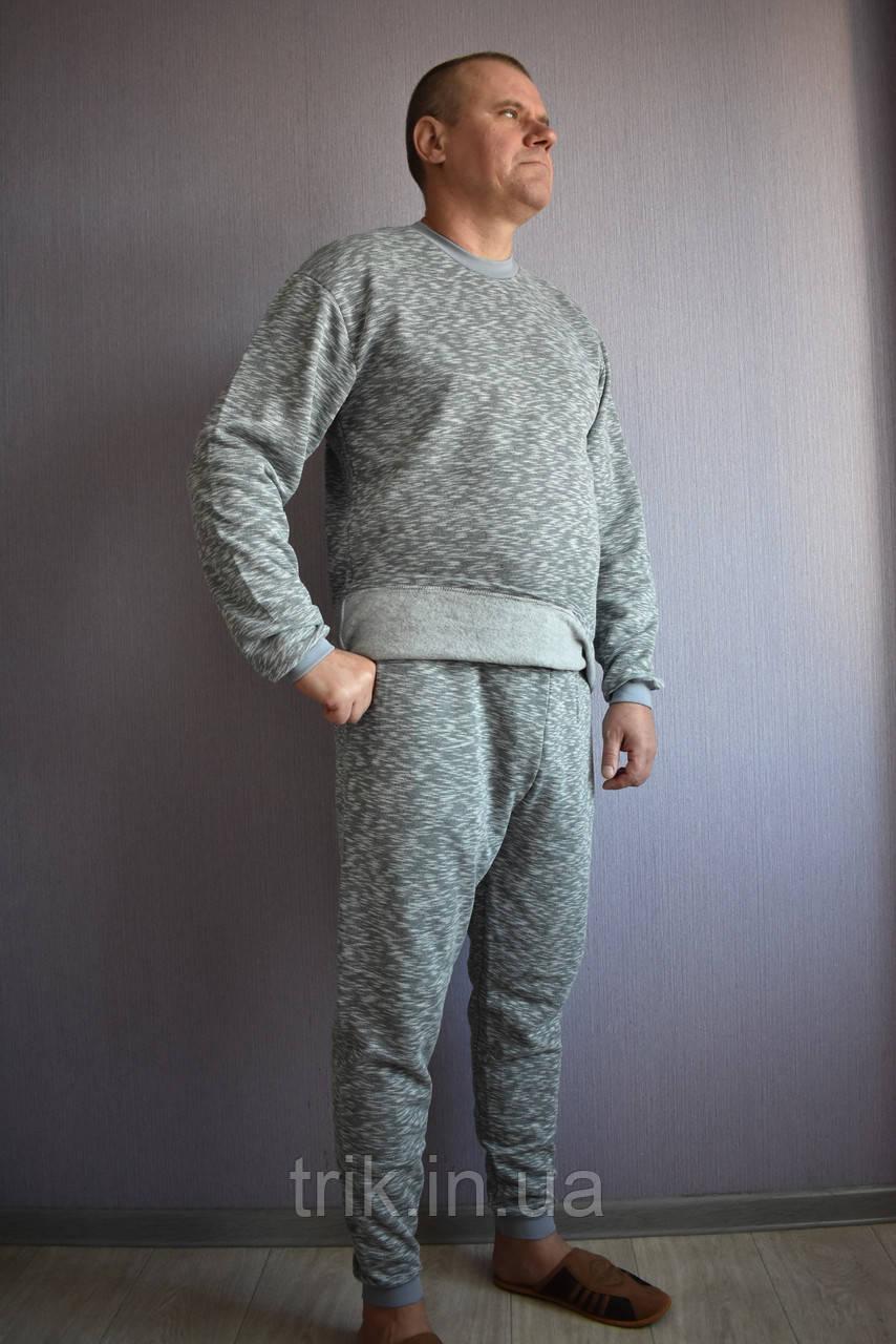 Теплый мужской домашний костюм серый меланж