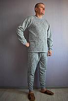 Теплый мужской домашний костюм серый меланж, фото 2
