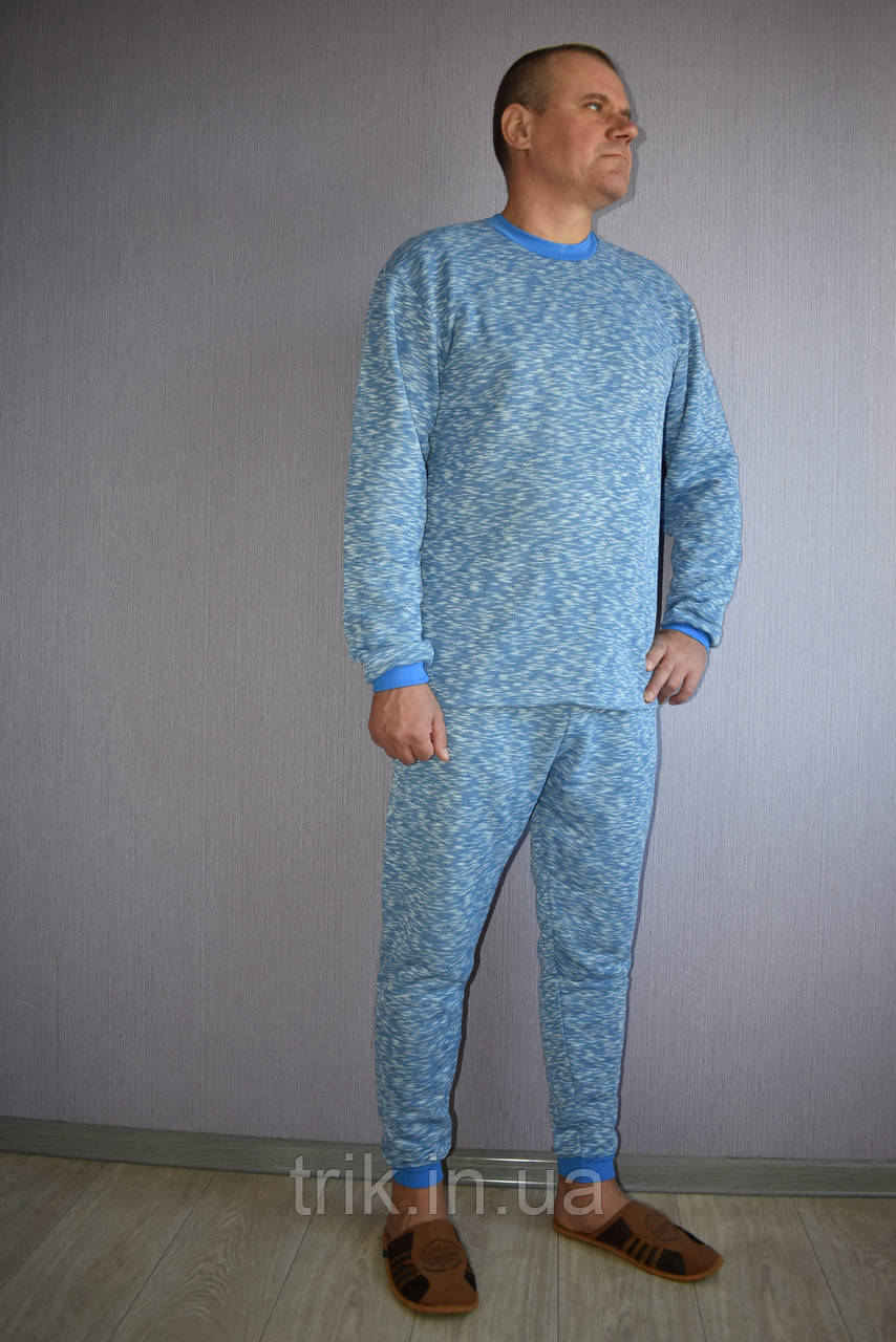 Мужской домашний костюм теплый голубой меланж