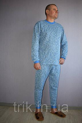 Мужской домашний костюм теплый голубой меланж, фото 2