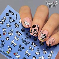 Слайдер-дизайн наклейки на ногти для маникюра водные Fashion Nails W58 микки маус модные