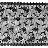 Ажурное кружево вышивка на сетке черного цвета, ширина 19 см, фото 7
