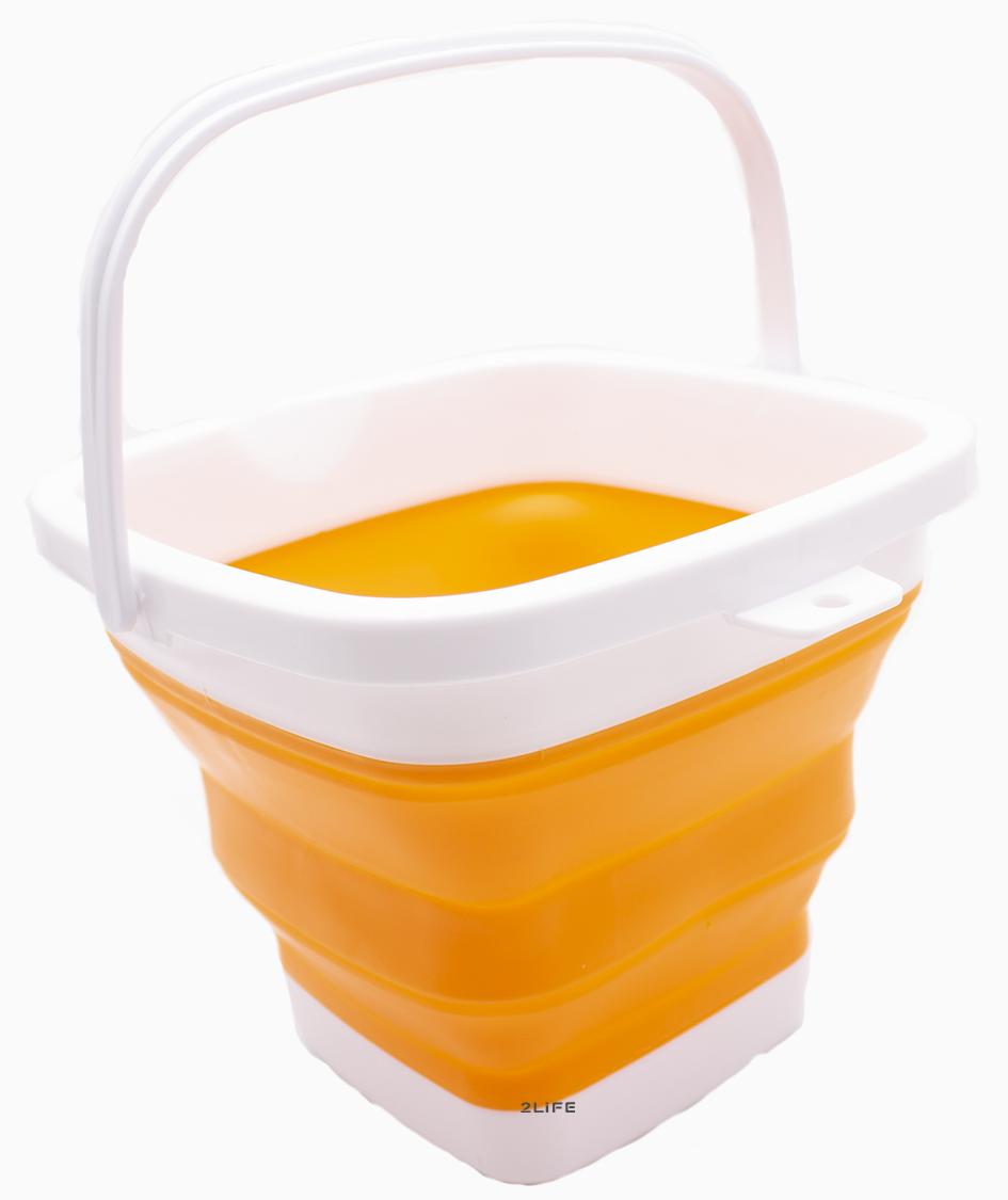 Ведро складное силиконовое дорожное квадратное Оранжевое (n-594)