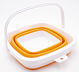Ведро складное силиконовое дорожное квадратное Оранжевое (n-594), фото 2